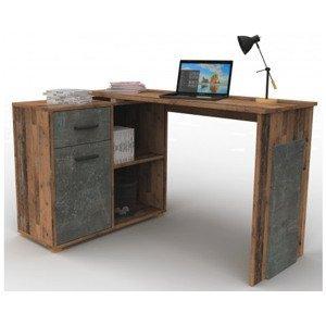 Rohový psací stůl Andy, vintage optika dřeva
