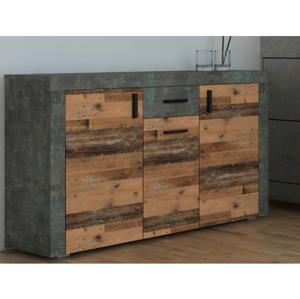 Komoda Pico, tmavý beton/vintage optika dřeva