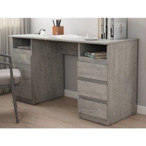 Psací stůl se 3 zásuvkami Carlos, šedý beton
