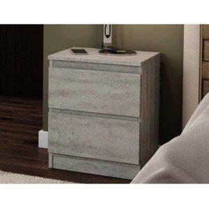 Skříňka/noční stolek Carlos 402S, šedý beton