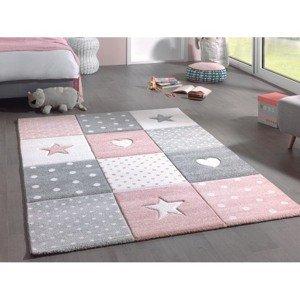 Dětský koberec Diamond Kids 120x170 cm, růžový, hvězdy a srdce
