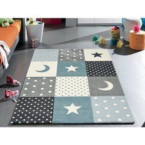 Dětský koberec Diamond Kids 120x170 cm, tyrkysový, hvězdy a měsíce