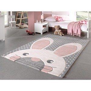 Dětský koberec Diamond Kids 120x170 cm, šedý motiv zajíček