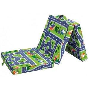 Skládací matrace Samba, zelená s motivem autodráhy