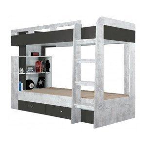 Dvoupatrová postel se zásuvkami Tablo 90x200 cm, šedá/enigma