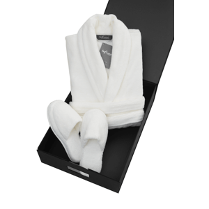 Soft Cotton Pánský a dámský župan MICRO COTTON v dárkovém balení + papučky Smetanová M + papučky (36/38) + dárkové balení