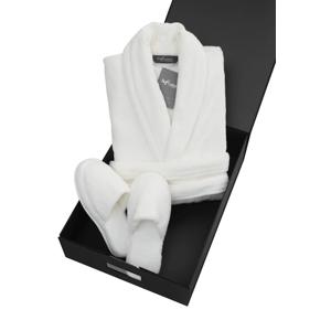 Soft Cotton Pánský a dámský župan MICRO COTTON v dárkovém balení + papučky Bílá L + papučky (40/42) + dárkové balení
