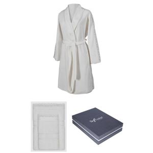 Soft Cotton Dárkové balení županu, ručníku a osušky SELYA Smetanová L