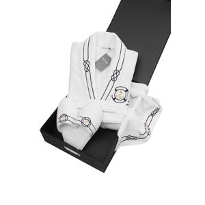 Soft Cotton Luxusní pánský župan s ručníkem a pupučemi MARINE MAN v dárkovém balení Bílá S + papučky (40/42) + ručník + box