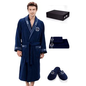Soft Cotton Luxusní pánský župan s ručníkem a pupučemi MARINE MAN v dárkovém balení Tmavě modrá XL + papučky (42/44) + ručník + box
