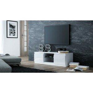 TV stolek LCD glass 140 cm bílá lesklá