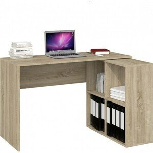 Počítačový stůl s regálem MALAX 2x2 dub sonoma