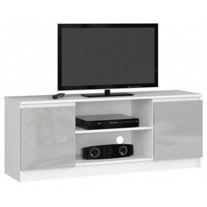 TV stolek RTV K140 metalic lesk bílá