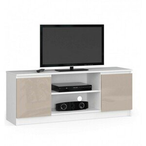 TV stolek RTV K140 cappuccino lesk bílá