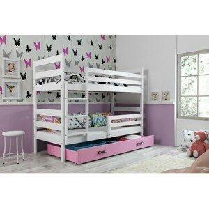 Dětská patrová postel ERYK 190x80 cm Ružové Bílá