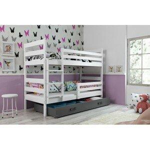 Dětská patrová postel ERYK 190x80 cm Šedá Bílá