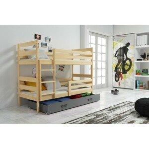 Dětská patrová postel ERYK 190x80 cm Šedá Borovice