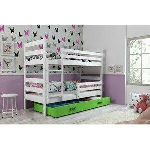 Dětská patrová postel ERYK 190x80 cm Zelená Bílá