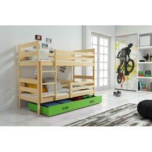 Dětská patrová postel ERYK 190x80 cm Zelená Borovice