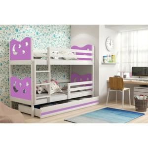 Dětská patrová postel MIKO 190x80 cm Bílá Bílá