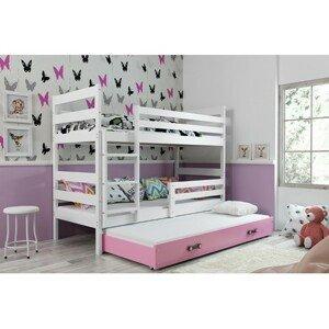 Dětská patrová postel s výsuvnou postelí ERYK 190x80 cm Ružové Bílá