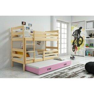Dětská patrová postel s výsuvnou postelí ERYK 190x80 cm Ružové Borovice