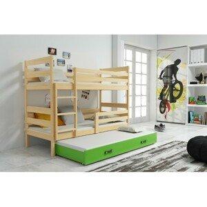 Dětská patrová postel s výsuvnou postelí ERYK 190x80 cm Zelená Borovice