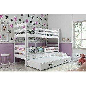 Dětská patrová postel s výsuvnou postelí ERYK 200x90 cm Bílá Bílá