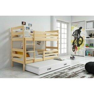 Dětská patrová postel s výsuvnou postelí ERYK 200x90 cm Bílá Borovice