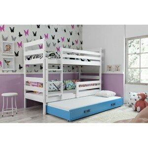 Dětská patrová postel s výsuvnou postelí ERYK 200x90 cm Modrá Bílá