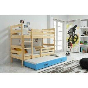 Dětská patrová postel s výsuvnou postelí ERYK 200x90 cm Modrá Borovice