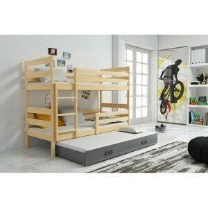 Dětská patrová postel s výsuvnou postelí ERYK 200x90 cm Šedá Borovice