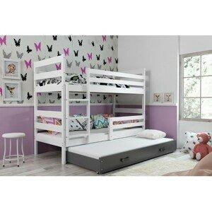 Dětská patrová postel s výsuvnou postelí ERYK 160x80 cm Šedá Bílá