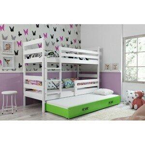 Dětská patrová postel s výsuvnou postelí ERYK 160x80 cm Zelená Bílá