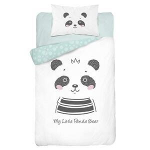Bambusové dětské povlečení do postýlky, Panda, zelená