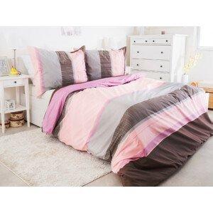 B.E.S. - Petrovice, s.r.o. Bavlněné krepové povlečení 140x200 + 70x90 cm - Pink