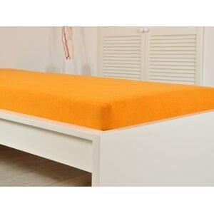 B.E.S. - Petrovice, s.r.o. Prostěradlo FROTÉ do postýlky 70x140 cm - Sytá oranžová