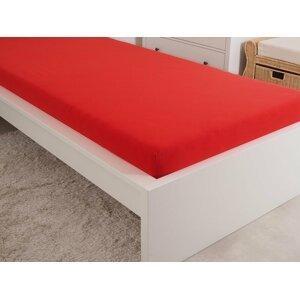 B.E.S. - Petrovice, s.r.o. Prostěradlo Jersey česaná bavlna MAKO 90x200 cm – Červená