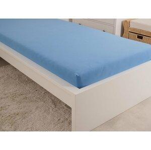 B.E.S. - Petrovice, s.r.o. Prostěradlo Jersey česaná bavlna MAKO 90x200 cm - Nebeská modrá
