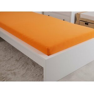 B.E.S. - Petrovice, s.r.o. Prostěradlo Jersey česaná bavlna MAKO 180x200 cm – Oranžová