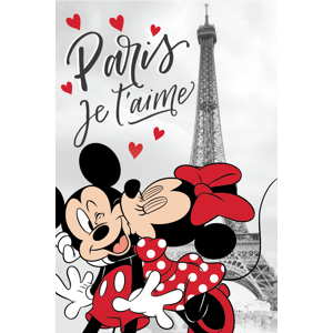 "Jerry Fabrics Dětská Fleecová deka 100x150cm - Mickey a Minnie v Paříži ""Eiffel Tower"""