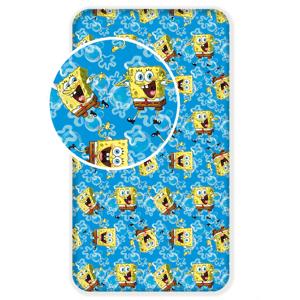 Jerry Fabrics Dětské licenční prostěradlo z bavlny Sponge Bob blue 90x200 cm