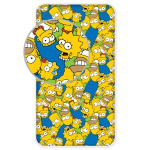 """Jerry Fabrics Bavlněné licenční prostěradlo 90x200 s gumou - The Simpsons family """"Green"""""""