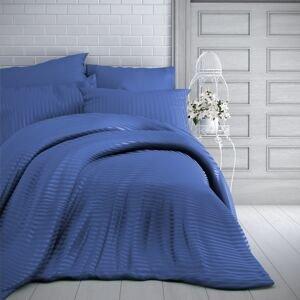Kvalitex Saténové povlečení s proužkem 140x200 + 70x90 cm - Modré
