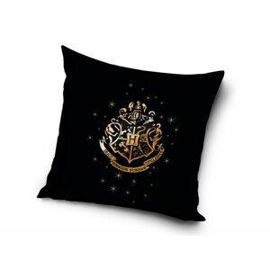 Carbotex Dekorační polštářek 40x40 cm - Harry Potter Erb Bradavic Gold