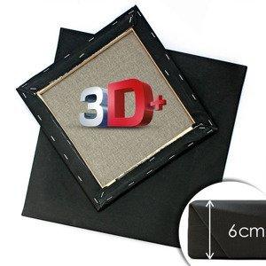 3D + Černé malířské plátno na rámu PROFI / různé rozměry