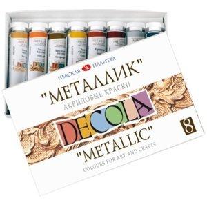 Metalické akrylové barvy DECOLA 8x18 ml