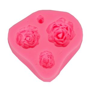Silikonová forma 4 růže 7x6,5x1,8 cm