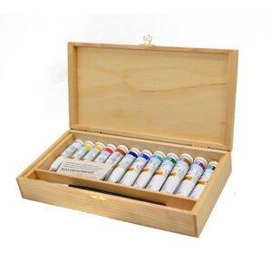 Set uměleckých olejových barev Ladoga v dřevěném boxu / 12x18ml