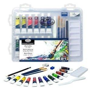 Sada akrylových barev Essentials v kufříku / 21 dílná